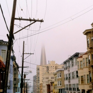Transamerica Pyramid in the fog.