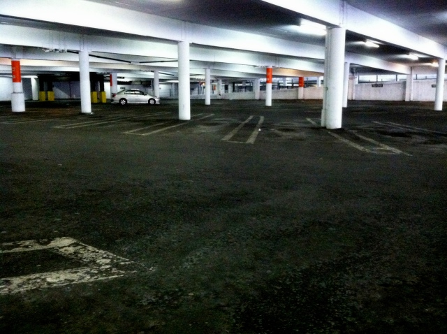 Parking garage at White Flint Mall at noon on a Saturday.