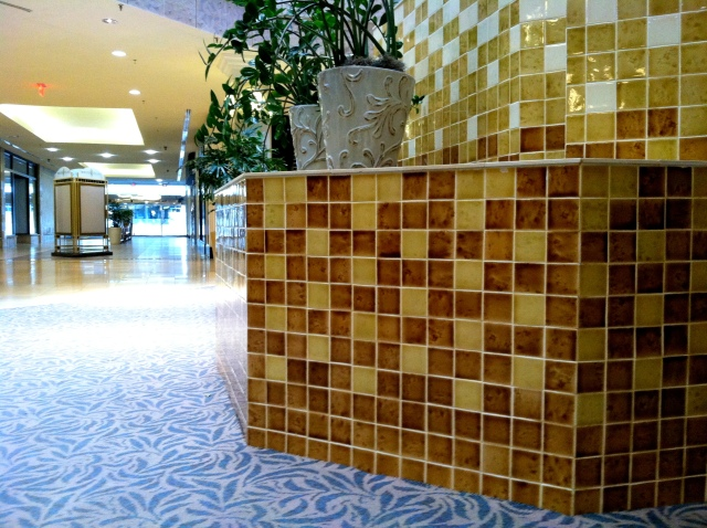 Tile and carpet in the atrium.