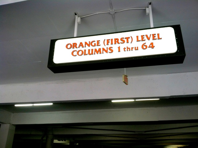 Remember where you parked: Orange Level, column 62.
