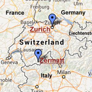Map of Switzerland, with Zurich and Zermatt indicated.