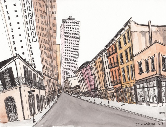 Royal Street and the Hotel Monteleone in the Quarter (Pen-and-ink and watercolor by J.S. Graboyes)