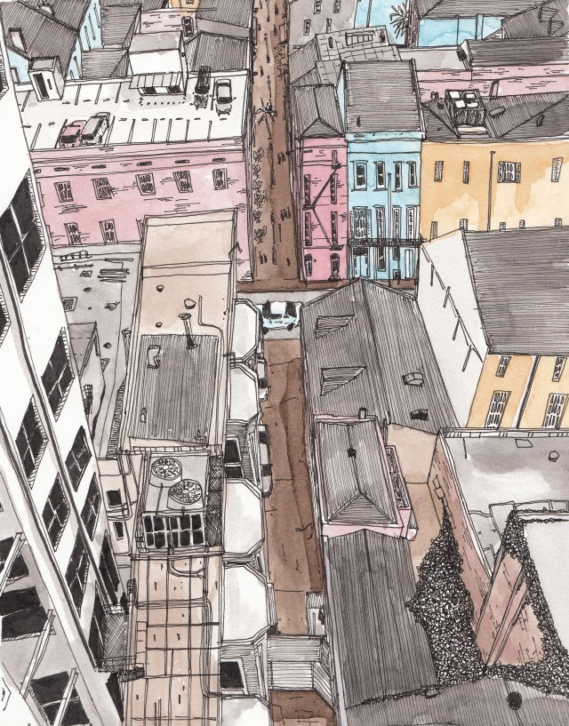 French Quarter from the Hotel Monteleone (Pen-and-Ink and Watercolor by J.S. Graboyes)