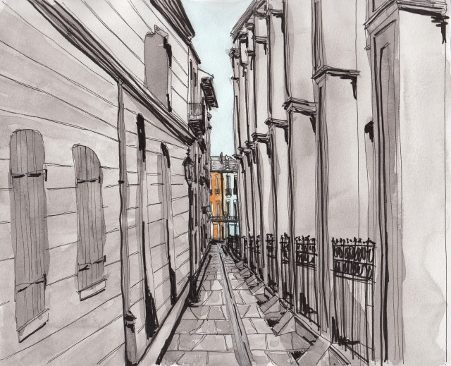 Pirate's Alley, French Quarter (Pen-and-ink and watercolor by J.S. Graboyes)
