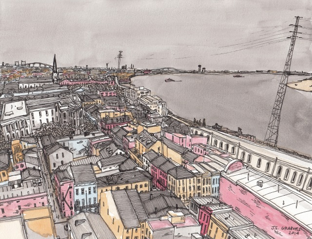 French Quarter and Mississippi River (Pen-and-Ink and Watercolor by J.S. Graboyes)