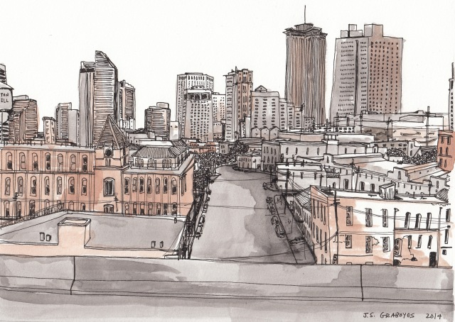 CBD from the Pontchartrain Expressway (Pen-and-Ink and Watercolor by J.S. Graboyes)