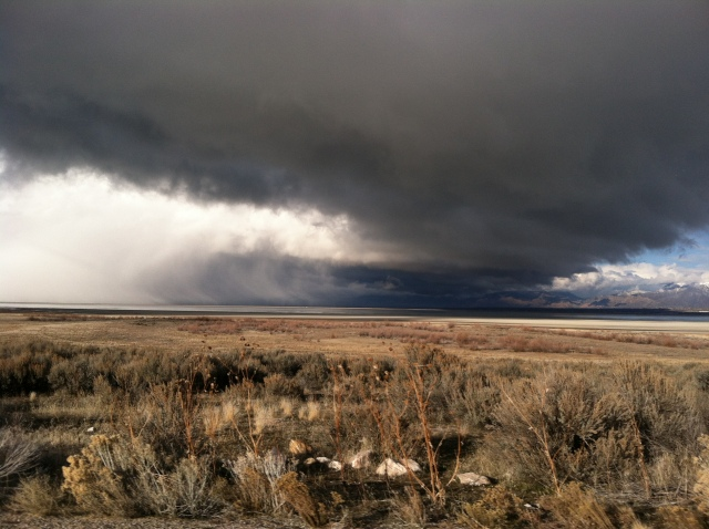 Storm clouds over Antelope Island.