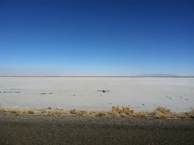 The Bonneville Salt Flats from I-80.