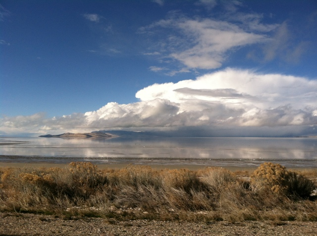 Looking out over the Great Salt Lake.