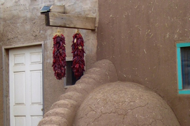 Ristra of red chiles drying at Taos Pueblo