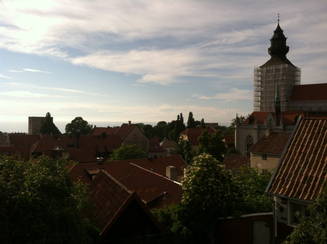 Visby and the cathedral from the upper town.