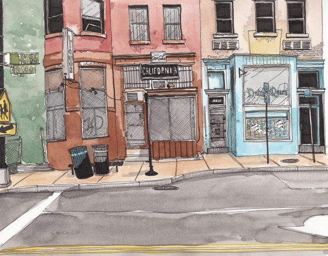California Liquor (closed), Adams Morgan (J.S. Graboyes Illustration)