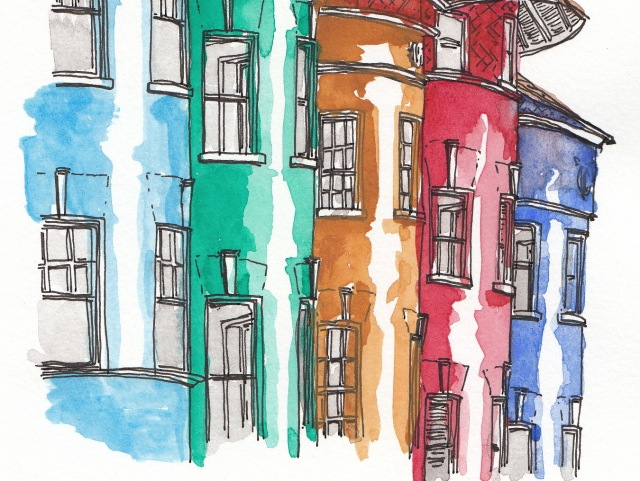 Row Houses, Cliffbourne Street NW, Adams Morgan (J.S. Graboyes Illustration)